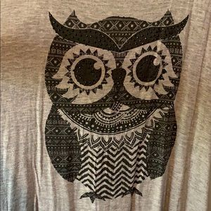 Ocasion Tops - Owl tank top with black rhinestones